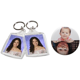 Photo Keychains and Buttons, Personalized Novelty