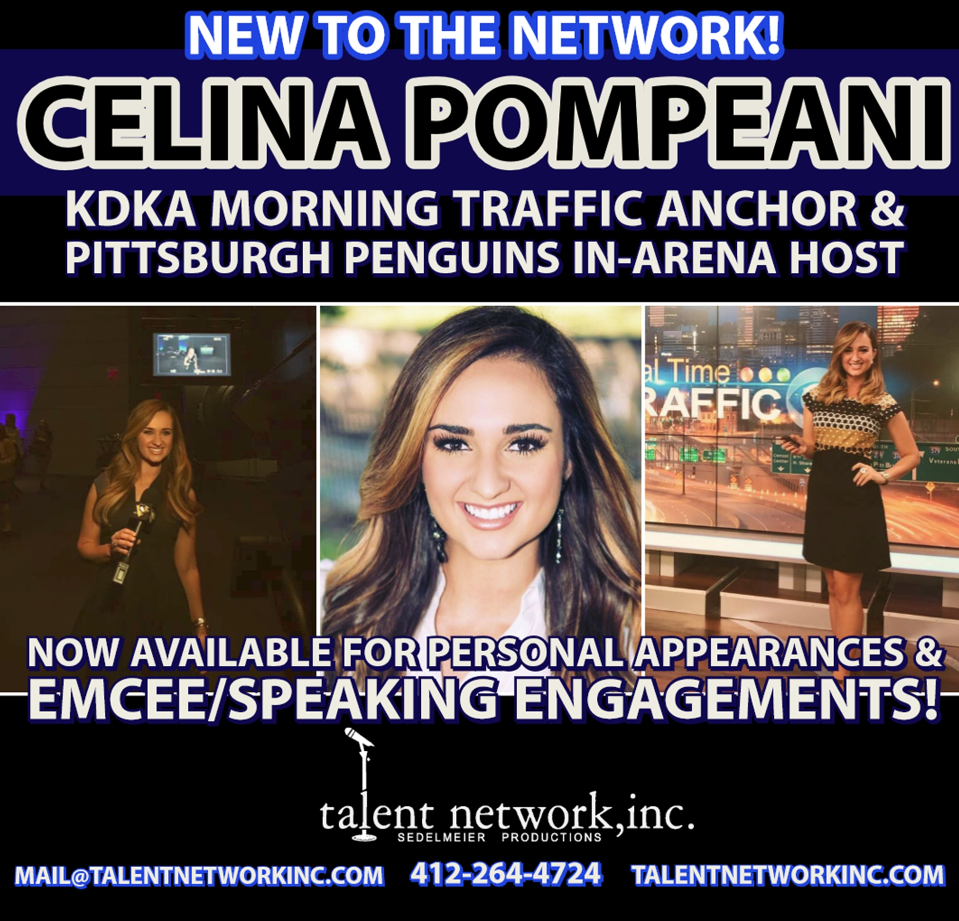 Celina Pompeani, represented by talent network, inc., booking agency, entertainment bookings