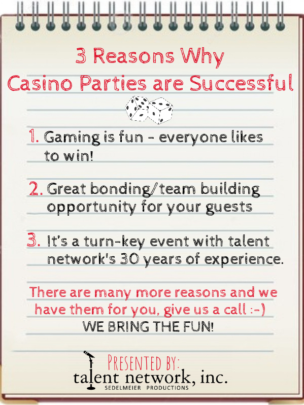 Casino Parties, talent network inc, successful entertainment, success, booking talent, book entertainment, novelty entertainment, themed parties, booking talent, the talented