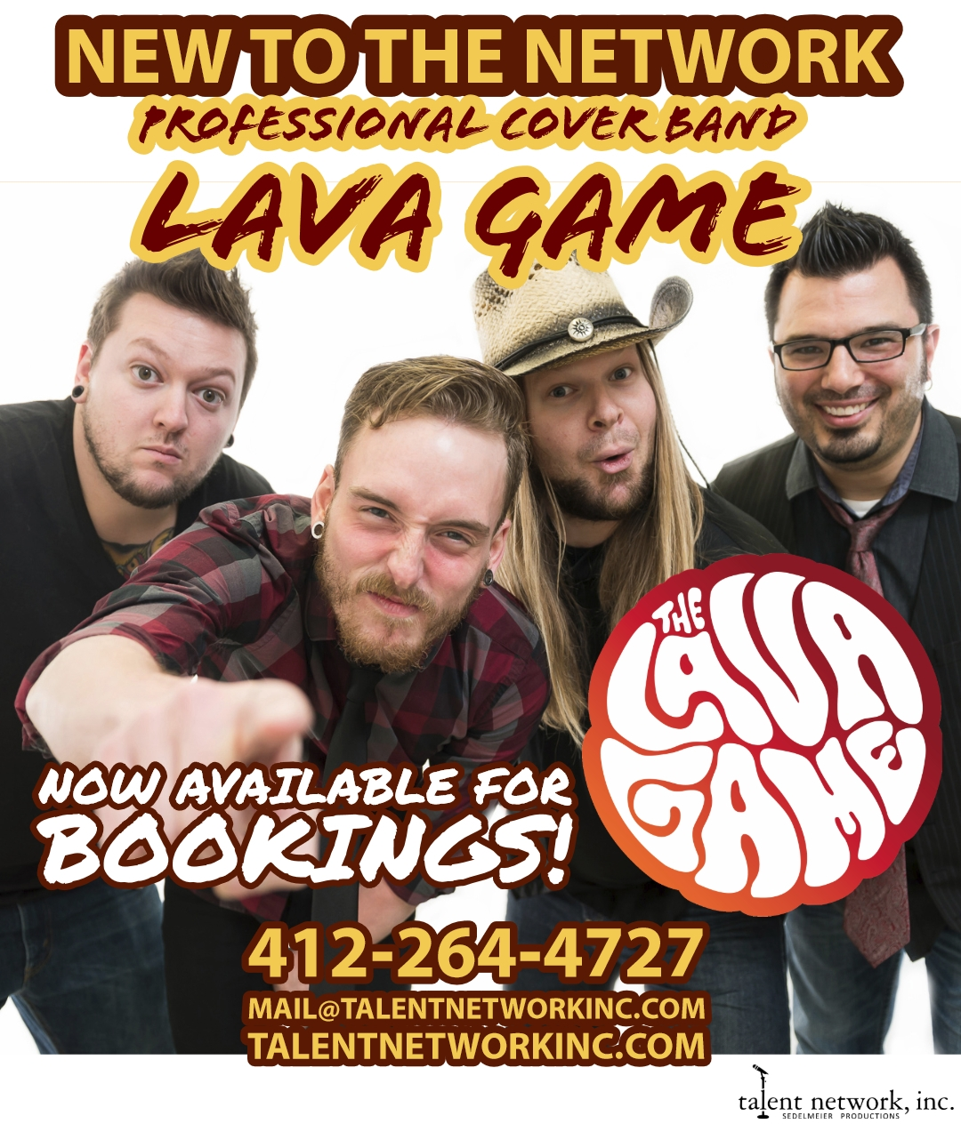 The Lava Game, live cover band, playing love, live entertainment, talent network inc, novelty entertainment, corporate entertainment, convention entertainment, live entertainment, cover band performance, booking entertainment, bookings, talent bookings, talent network inc