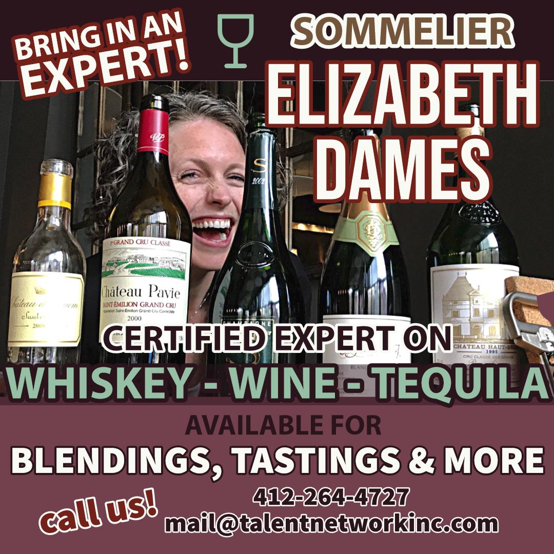 Sommelier, Elizabeth Dames, Expert wine enthusiast, certified sommelier, talent network, corporate entertainer, corporate bookings